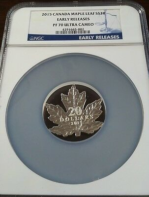 2015 Canada Silver $20 - Maple Leaf Shape - PF70 Early Release - NGC Coin