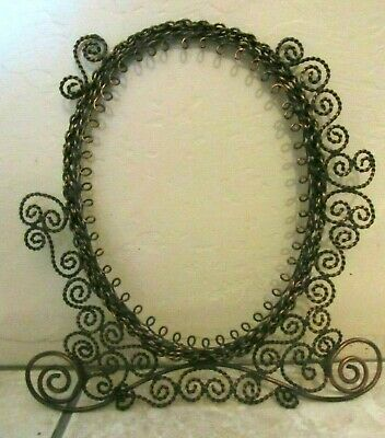 Antique Ornate Victorian Copper Wire Work Hand Made Hanging Frame- Rare!-Oval