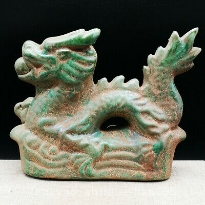"6.7"" Collect Chinese Ceramics Porcelain Green Glaze Zodiac Animal Dragon Statue"