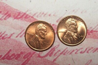 1944 P mint uncirculated (2) coin lot red lincoln wheat cents from roll (uat-13)