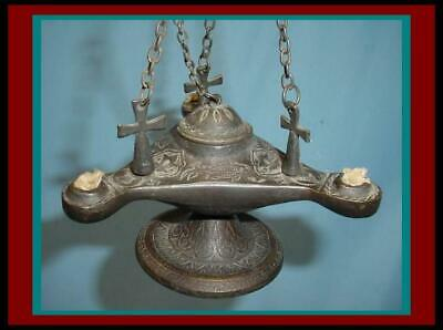 ANTIQUE ROMAN BYZANTINE Embossed BRONZE / COPPER Hanging OIL LAMP with 3 CROSSES