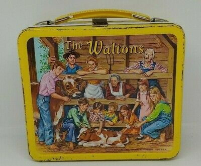 Vintage Yellow The Waltons Metal Lunch Box Aladdin Ind. No Thermos !973