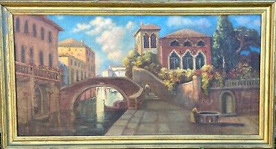 Large Vintage Original Framed Oil Painting - Venice Italy Canal Scene