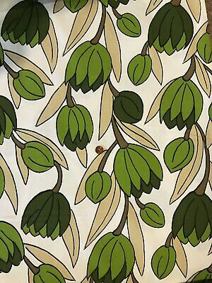 Vintage Lawrence Peabody Lotus Fabric Mid Century Modern Material Green 11 Yards