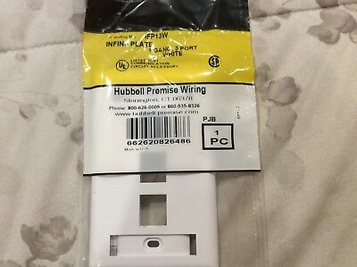 Lot of 5 - HUBBELL PREMISE WIRING IFP13W Faceplate, 3 Port
