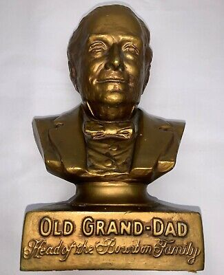 """Vintage Old Grand-Dad Bourbon Ceramic Head of the Family Promotional 12"""" Bust"""