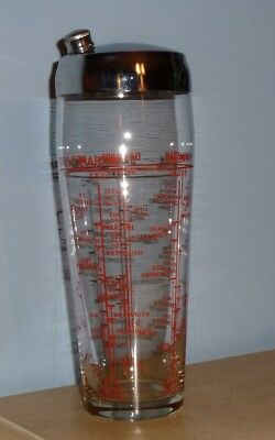 Vintage Red Recipe Cocktail Martini Drink Glass Shaker Chrome Lid Tapered