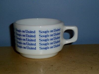 Vintage Pyrex 'Soup's On United' Blue & White Milk Glass Mug Cup United Airlines