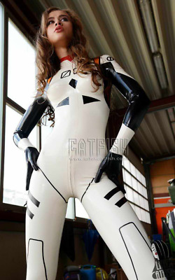 Latex 100% Rubber Racing Suits Mixed Color Catsuit Gummi Ganzanzug With Hands