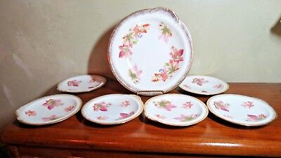 Antique Sevres(Ohio)China 7 Piece Platter/Shallow Bowl  & Small Plates 1900-1908