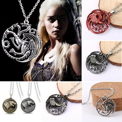 Game of Thrones House Targaryen/Stark Badge Metal Necklace Pendant Neck Chain AU
