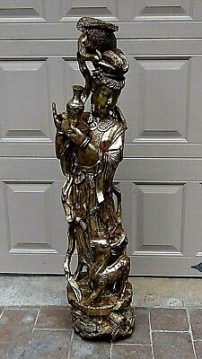 Antique Chinese Wood Hand Carved Gilt Quin-Yin Statue Holding Vase,W/Crane&Deer