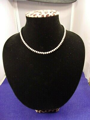 Beautiful Older Vtg Handcrafted? Sterling Silver Beaded Necklace, Two-Tone Beads