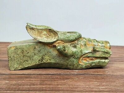 China Ancient WarringStates Period Carriage Part Bronze Dragon Statue Cart Shaft