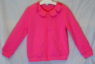 Girls M&S Plain Neon Pink Pretty Collared Zipped Cardigan Jacket Age 2-3 Years