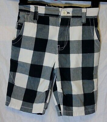 Boys Next Black White Check Adjustable Waist Cotton Board Shorts Age 5 Years