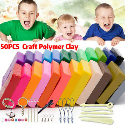 50 Color Craft Polymer Clay Modelling DIY Toy Sculpey Fimo Block Oven Bake AU