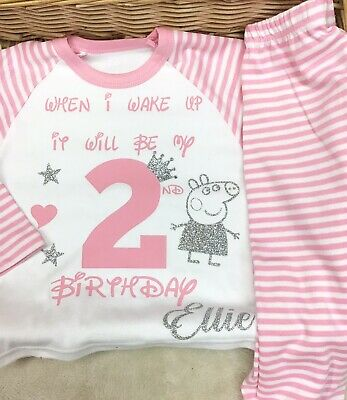 Personalised Pjs When I Wake Up  Birthday Pyjama  Pig Boy Or Girl Dog Rabbit