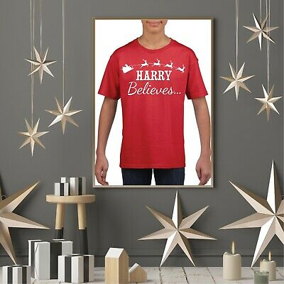 Kids Personalised (Any Name) BELIEVES T-Shirt - Christmas Santa Claus Xmas Tee