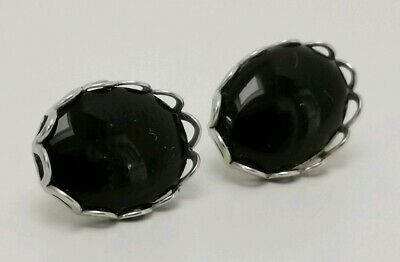 925 Sterling Silver Small Black Onyx Oval Rope Studs Earrings Girls B/'Day GIFT N