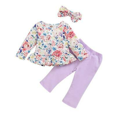 3pcs Toddler Infant Baby Girls Long Sleeve Floral Tunic Tops+Leggings+Headband