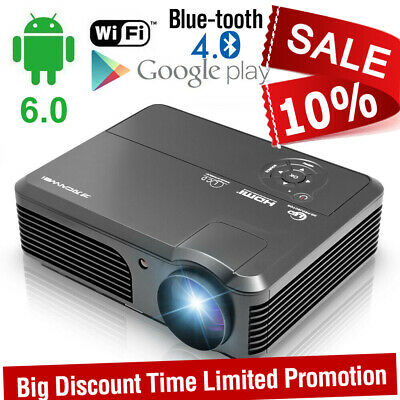 5000LMS HD Smart Android 6.0 Video Projector Home Cinema Bluetooth WIFI 1080p AV