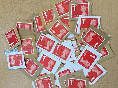 50 x UK Royal Mail Large Red 1st Class Unfranked Stamps On Paper - Face £53