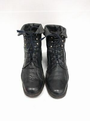 Sz 41 Vintage Navy Blue Military Grunge Rock lace up soft leather ankle boots