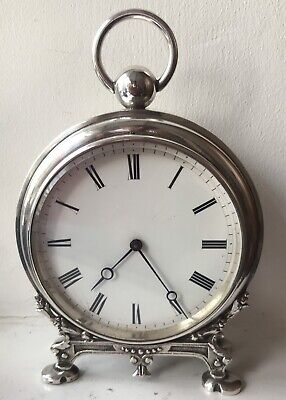 Antique Novelty French Silver Plated Desk Clock Pocket Watch @ 1890