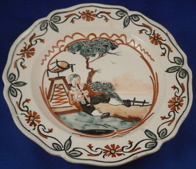 Antique 18thC Dutch Decorated Creamware Scenic Plate Scene Holland Netherlands
