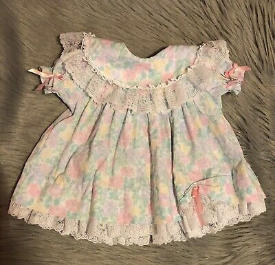Vintage Baby Girls Bryan Pastel Pink White Floral Lace Ruffle Frilly Dress