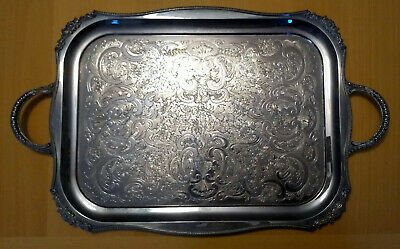 Vintage Viners Large Silver Plated Serving Tray Chased Alpha Plate