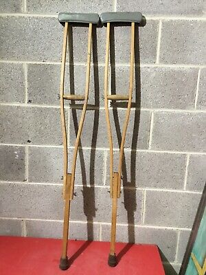 Vintage Coopers Under Arm Adjustable Wooden Crutches Film Prop