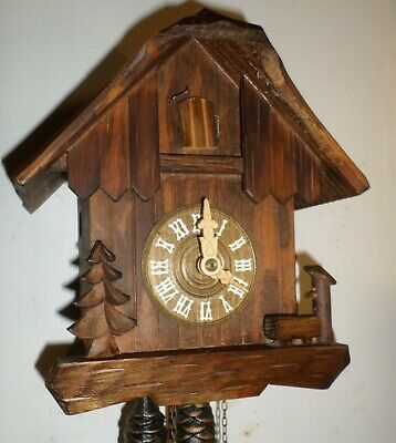 Very Nice Unusual German Black Forest Anton Schneider Wood Chalet Cuckoo Clock!