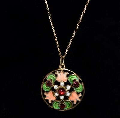 Stunning ANTIQUE **Hand Painted** ENAMEL & JEWELS Floral Pendant Necklace