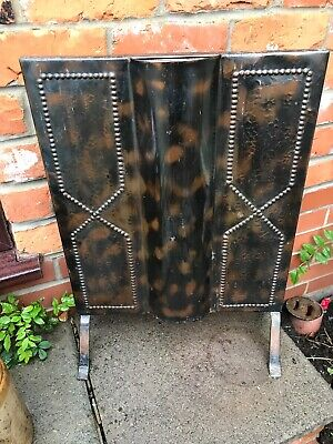 "Stunning Antique Copper Fire Screen 61"" X 43"" Arts & Crafts"