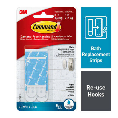 Command Bath Water Resistant Refill Strips, 2-Medium and 4-Large Strips