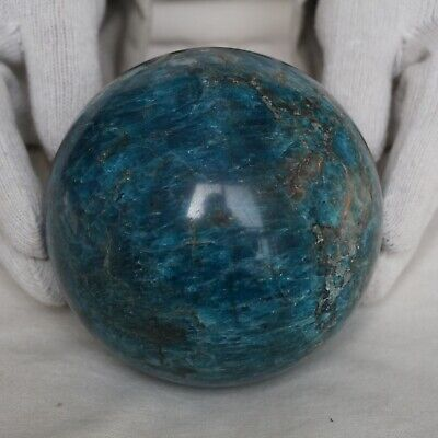"5.72LB 4.5"" Natural Blue Apatite Crystal Sphere Ball Polished Healing China"