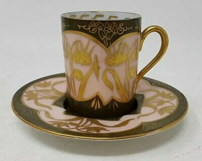 Antique Boseck & Co Hand Painted Demitasse Cup & Saucer