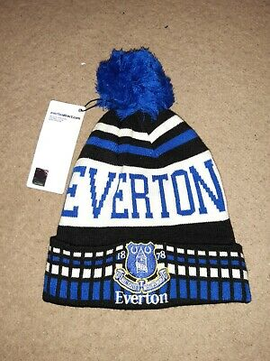 Official Everton F.C Knitted FADE Bobble Beanie Winter Hat Teenager Adult