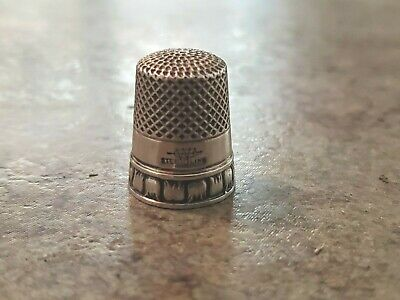 Vintage Webster Signed Sterling Silver Sewing Thimble Decorative Design MA USA