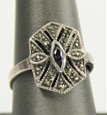 VINTAGE ESTATE Jewelry ART DECO STERLING SILVER MARCASITE AMETHYST RING SZ 8.25