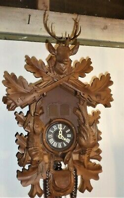 Nice Large German Bachmaier & Klemmer Musical Hunter Deer Carved Cuckoo Clock!