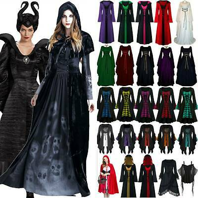 Womens Lady Carnival Renaissance Dress Gothic Party Witch Cosplay Costume Adult
