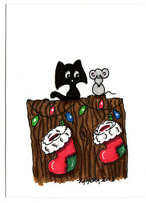 TAMBRA Christmas Lights Stocking Black CAT Mouse ACEO Folk Art Original Painting