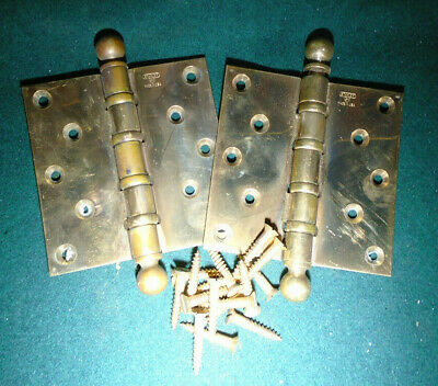 """1922 Stanley Brass Ball Bearing Hinges  5"""" X 5""""  - Beautiful Condition (13314)"""
