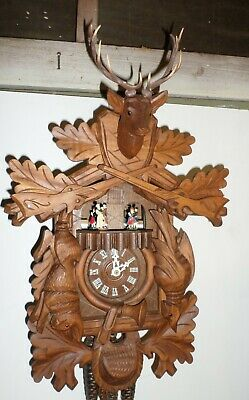 Nice Large German Black Forest Swiss 2 Tune Music Dancers Hunter Cuckoo Clock!