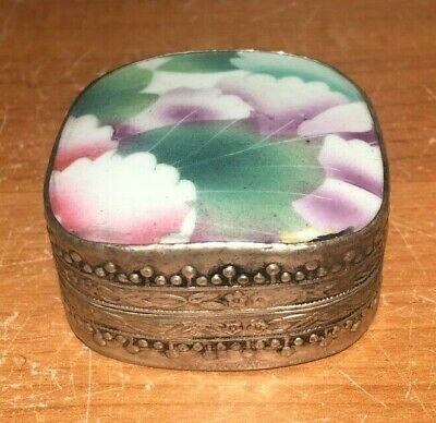 Antique Chinese Silverplated Copper & Hand Painted Porcelain Covered Box- Floral