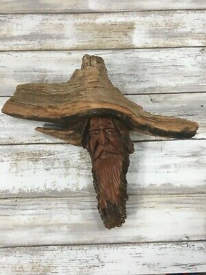 Vintage Folk Art Wood Carved Old Man Spirit Face Tree Nature