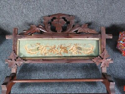 Victorian Carved Walnut Towel rack needlepoint insert